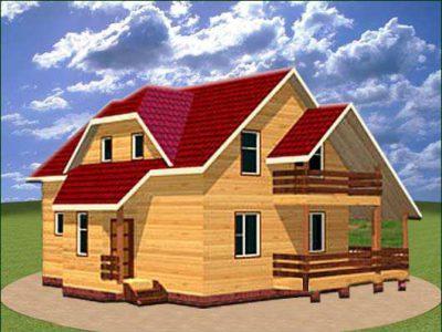 Дом из бруса 8х10 с террасой и балконом