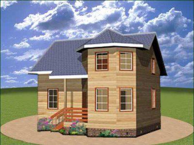 Дом из бруса 6х8 с эркером