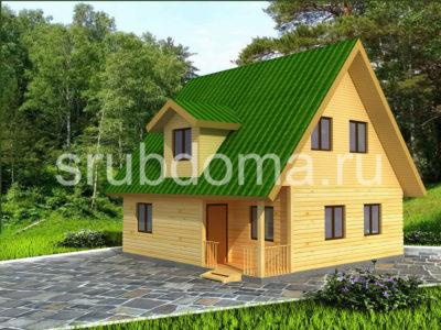 Дом из бруса 8х8 с мансардой