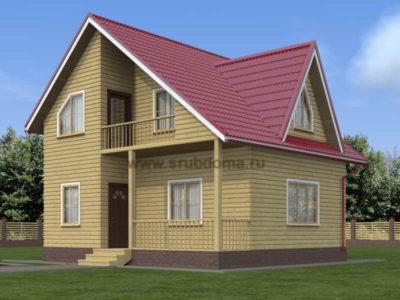 Дом из бруса 7х8 с террасой и балконом