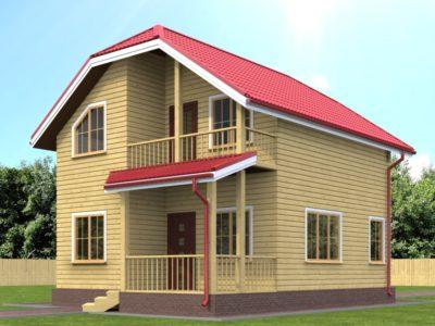 Дом из бруса 7х9 с балконом