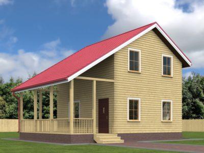 Дом из бруса 7х9 с террасой