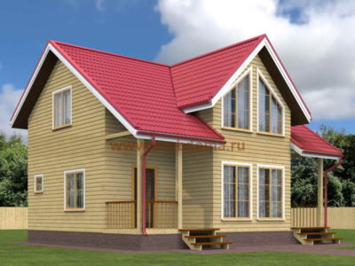 Полутораэтажный дом из бруса 8х9