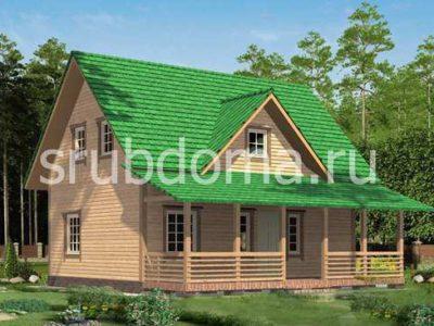 Одноэтажный дом 9 на 9,5 с террасой и мансардой
