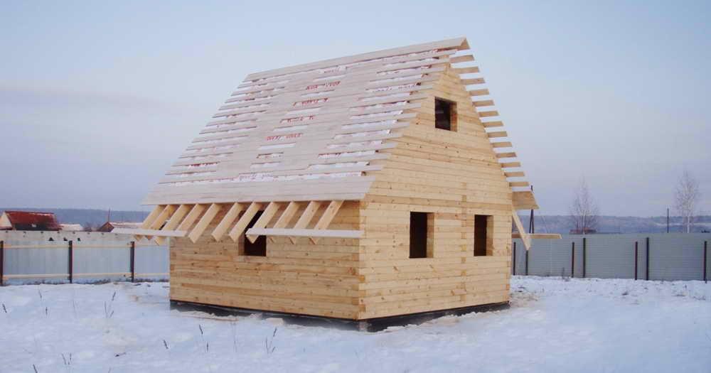 Зимнее строительство дома из бруса
