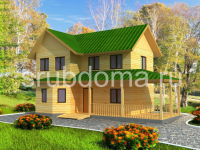 Двухэтажный дом из бруса 7х12