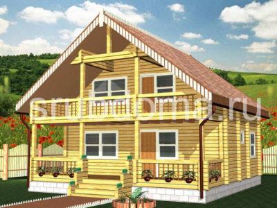 Дом 8х8 с террасой и балконом