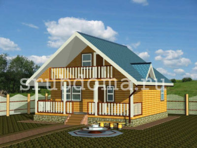 Одноэтажный дом бруса 8 на 8