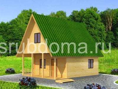 Дом из бруса 6х8 с террасой