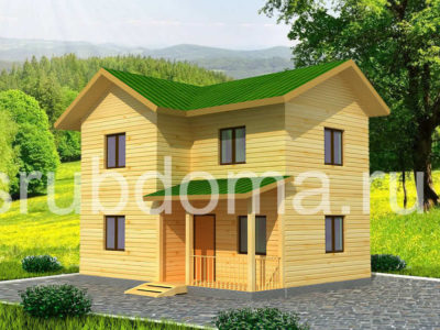 Двухэтажный дом из бруса 6х8